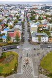 Vista aérea da cidade de Reykjavik, Islândia fotografia de stock royalty free