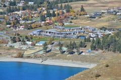 Vista aérea da cidade de Tekapo, um destino popular do turista em Canterbury Foto de Stock Royalty Free