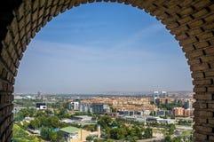 Vista aérea da cidade de Zaragoza da torre da Catedral-basílica de nossa senhora da coluna fotos de stock royalty free