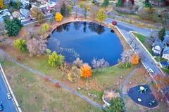 Vista aérea da cidade Gloucester New-jersey do beira-rio de Delaware foto de stock