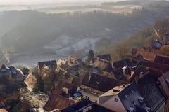 Vista aérea da cidade histórica de Tauber do der do ob de Rothenburg do centro imagem de stock royalty free