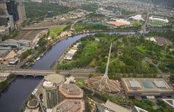 Vista aérea da cidade nebulosa Austrália de Melbourne CBD Fotografia de Stock