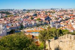 Vista aérea da cidade velha da cidade de Lisboa Imagens de Stock
