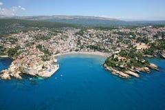 Vista aérea da cidade velha Ulcinj, Montenegro foto de stock royalty free