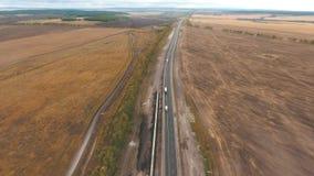 Vista aérea da estrada video estoque