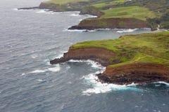Vista aérea da estrada da costa norte do ` s de Maui a Hana Fotos de Stock