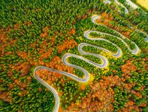 A vista aérea da estrada de enrolamento com o outono coloriu a floresta Imagem de Stock