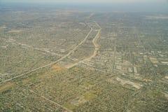 Vista aérea da estrada 105 e a interseção e o San da estrada 605 fotos de stock royalty free