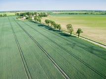 Vista aérea da estrada secundária e da vila Fotografia de Stock