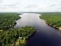 Vista aérea da floresta e do lago imagens de stock