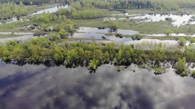 Vista aérea da floresta e do rio O céu é refletido na água prados da inundação Metragem aérea vídeos de arquivo