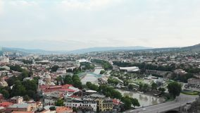 Vista aérea da fortaleza Tbilisi de Narikala Geórgia 2018 video estoque