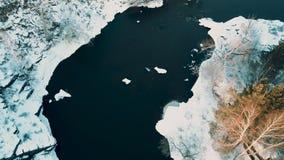 Vista aérea da garganta na floresta misturada, Rússia do rio filme