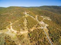 Vista aérea da hidro torre do impulso perto da estrada de Kosciuszko, sul novo Imagem de Stock