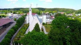Vista aérea da igreja filme