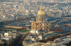 Vista aérea da igreja de Les Invalides em Paris Foto de Stock