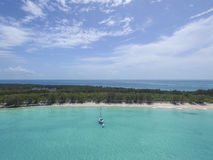A vista aérea da ilha arenosa dos dedos do pé, Bahamas encalha Imagem de Stock Royalty Free