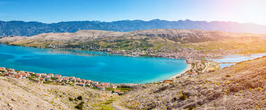 Vista aérea da ilha croata do Pag fotos de stock royalty free