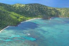 Vista aérea da ilha das Caraíbas remota Imagens de Stock Royalty Free