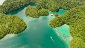 Vista aérea da lagoa de Sugba, Siargao, Filipinas vídeos de arquivo