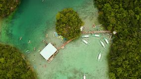 Vista aérea da lagoa de Sugba, Siargao, Filipinas filme
