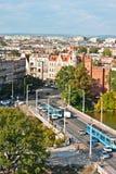 Vista aérea da ponte da universidade, Wroclaw, Poland Fotografia de Stock Royalty Free