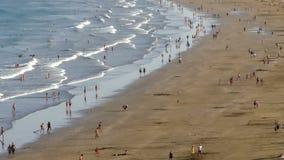 Vista aérea da praia 'del Inglés ', Ilhas Canárias Lapso Hyper video estoque