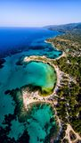 Vista aérea da praia bonita de Karidi no Vourvourou Fotos de Stock