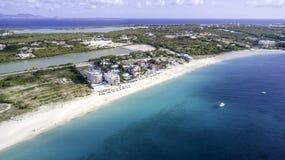 Vista aérea da praia de Anguila Fotografia de Stock Royalty Free