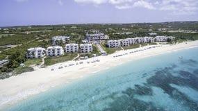 Vista aérea da praia de Anguila Fotos de Stock Royalty Free