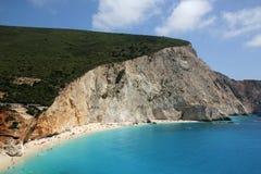 Vista aérea da praia de Porto Katsiki, ilha de Lefkada foto de stock