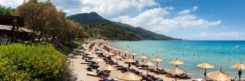 Vista aérea da praia de Porto Zorro Azzurro em Zakynthos Zante fotos de stock
