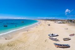 Vista aérea da praia de Santa Maria no Sal Cabo Verde - Cabo Verde Fotografia de Stock Royalty Free