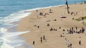 Vista aérea da praia do ` de Sant Pol de Mar do ` video estoque