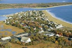 Vista aérea da praia do ponto do pinho situada em Scarborough, Maine, fora de Portland foto de stock