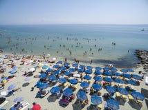 Vista aérea da praia em Katerini, Grécia Imagem de Stock