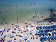 Vista aérea da praia em Katerini, Grécia Fotografia de Stock Royalty Free
