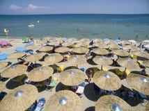 Vista aérea da praia em Katerini, Grécia Fotos de Stock