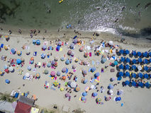 Vista aérea da praia em Katerini, Grécia Fotografia de Stock