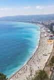 Vista aérea da praia na cidade de agradável, Cote d'Azure, França Fotografia de Stock Royalty Free