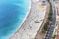 Vista aérea da praia na cidade de agradável, Cote d'Azure, França Fotos de Stock