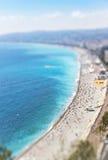 Vista aérea da praia na cidade de agradável, Cote d'Azure, França Imagem de Stock