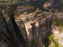 Vista aérea da rocha do púlpito foto de stock