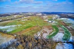 Vista aérea da terra Amish em Pensilvânia imagem de stock