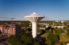Vista aérea da torre de água Svampen Foto de Stock Royalty Free