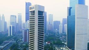 Vista aérea da torre do escritório do banco de BNI filme