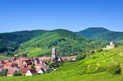 Vista aérea da vila de Kaysersberg Fotos de Stock Royalty Free