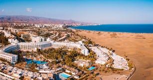 Vista aérea das dunas de Maspalomas na ilha de Gran Canaria fotografia de stock