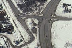 Vista aérea das estradas na área rural Foto de Stock