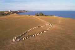 Vista aérea das pedras de pedra de Ales do navio foto de stock